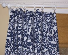 Pair Navy And White Damask Curtain Panels