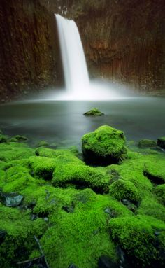 Abiqua Falls covered with moss, Oregon