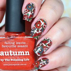 """Ana✨Nail Art-Tutorial-Swatches en Instagram: """"Hi loves!!! . This is the final result! Autumn reverse stamping! I'm very happy with this design! I use the following. Infinity Nails stamping plate 134 @dashicabeautyshop . Autumn, Hercynia, Calm, Bridget from @picturepolish ❤️ . Ya Qui An brown stamping polish @bornprettystorenailart (use code FML91 for 10% off in your orders)✨ . Monumental @formulaxnail ✨ ."""