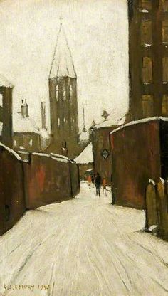 Winter in Pendlebury,Manchester 1943 - Laurence Stephen Lowry: Salford, Winter Landscape, Urban Landscape, Hunters In The Snow, Manchester Art, Manchester England, Spencer, English Artists, Winter Art