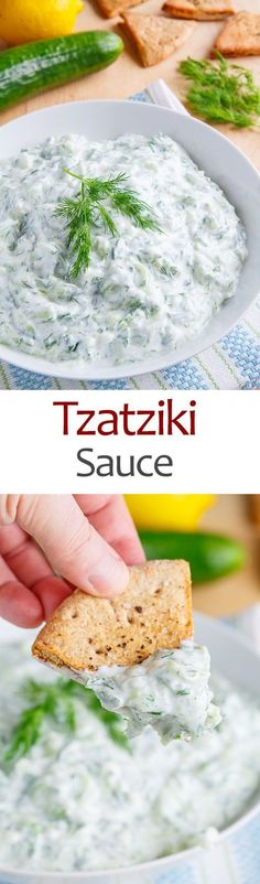 Tzatziki Sauce: 1/2 cup plain Greek yogurt 1/2 cup cucumber, peeled, seeded, grated, and squeezed to drain 1 clove garlic, grated 1 tablespoon fresh dill, chopped 2 tablespoons lemon juice (~1/2 lemon) salt and pepper to taste by jewel