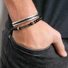 f38084cc923aa Men s Bracelet Set - Men s Personalized Bracelet - Men s Custom Bracelet - Men s  Engraved Bracelet -