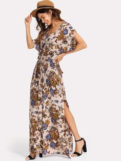 SHEINFlower Print Tie Waist Maxi Dress