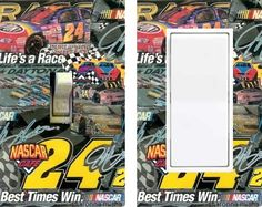 Nascar 24 Jeff Gordon light switch plate - handmade art -  this one-of-a-kind switchplate is my original design so you won't see it anywhere else!  The Perfect Gift for any Collector or Fan!  they're art and they're functional~ Revamp any room instantly!  ABOUT THE ART: collages by sharonna misha are... +my original designs +handmade and unique #daytona #race #2015 #onsale #sale