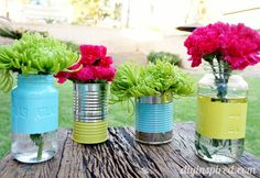 Recycled Can and Mason Jar Vases - add color pops for party centerpieces, or anytime decor. Change the color for holidays and events.
