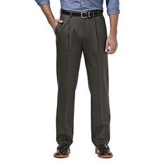 Men's Haggar Premium No Iron Khaki Stretch Classic-Fit Pleated Pants, Size: 38X29, Dark Grey