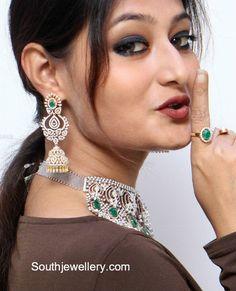 Diamond Emerald Choker and Jhumkas photo Diamond Earrings Indian, Diamond Jhumkas, Diamond Choker, Sapphire Necklace, Diamond Pendant, Diamond Necklaces, Gold Necklaces, Diamond Jewellery, Diamond Studs