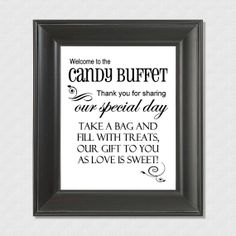 "Welcome to the Candy Buffet Wedding 8"" x 10"" Sign - Printable file - Instant download"