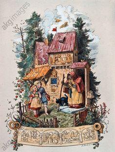 Hänsel und Gretel vor dem Knusperhäuschen, Illustration von Ludwig Richter 1860