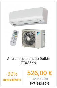 AIRE ACONDICIONADO DAIKIN FTX35KN  Conjunto de aire acondicionado Daikin, modelo TX35KN, con potencia en frío de 2.840 kcal. y en calor de 3010 kcal.