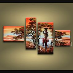 Colorful Contemporary Wall Art Hand Painted Oil Painting Stretched Ready To Hang Africa Landscape. This 4 panels canvas wall art is hand painted by Bo Yi Art Studio, instock - $155. To see more, visit OilPaintingShops.com