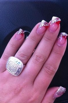 Pretty red and silver nails