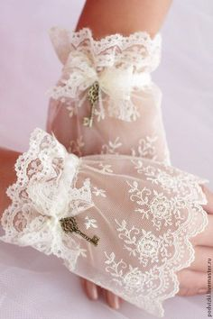 Where has all of a woman's femininity gone? Lace Cuffs, Lace Gloves, Mode Mori, Estilo Lolita, Gloves Fashion, Wedding Gloves, Ethereal Beauty, Pearl And Lace, Linens And Lace