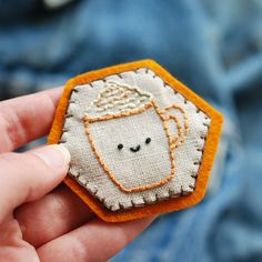 stitch: PSL Embroidered Hexagon Pin || wild olive
