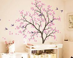 Items similar to Large Forest Tree with Birds Vinyl Wall Decal - on Etsy Nursery Wall Decals, Wall Decal Sticker, Wall Murals, Wall Painting Decor, Diy Wall Art, Wall Decor, Cherry Blossom Art, Painted Hats, Little Girl Rooms