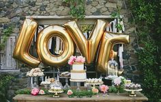Love Balloon Set, 40 Inch gold Foil love Ballon for Romantic Wedding, Bridal Shower, Anniversary, and Engagement Party Decoration (LOVE) Dessert Bar Wedding, Brunch Wedding, Mod Wedding, Wedding Desserts, Chic Wedding, Dream Wedding, Wedding Decorations, Wedding Reception, Party Wedding