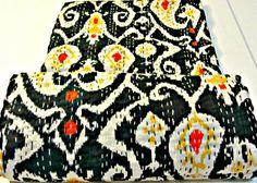 Black Ikat quilt bedspread queen Ikat kantha by JaipurHandloom