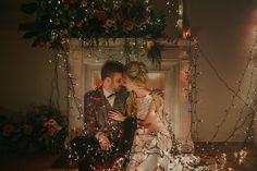 Elopement in London with string lights