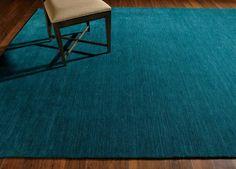 Loomed Wool Rug, Turquoise