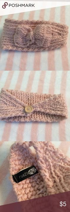 Rue 21 Pink Headband Precious pink crocheted headband with bow from Rue 21.  New Rue 21 Accessories Hair Accessories