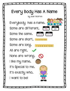 """Every Body Has a Name Poem"" from play learn love"