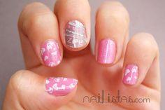 Manicura rosa con biberones para un Baby Shower de niña // Baby shower ideas // nail art