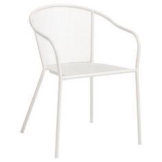 Mooi voor bij die lichte tafel. Twee van deze en drie grijze?  Moderne metalen tuinstoel wit. 57x59x76 cm (lxbxh). #tuin #tuinstoel #KwantumLente