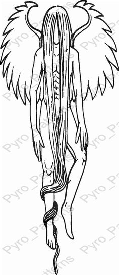 Pyrography Wood burning Angel Pattern Printable Stencil