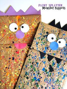 Paper Bag Paint Splatter Monster Puppets Kids Craft Are you ready to get messy? Because these Paper Bag Paint Splatter Monster Puppets are definitely a messy craft. But that's what makes them fun! Kids Crafts, Halloween Crafts For Kids, Halloween Activities, Toddler Crafts, Art Activities, Holiday Crafts, Craft Projects, Vintage Halloween, Craft Ideas
