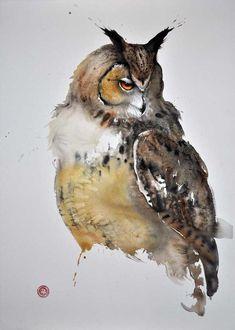Karl Mårtens (Swedish, b. 1956) | Eagle Owl | Watercolor, charcoal on handmade paper
