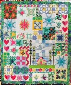 Sampler quilt by Lorna Grice, created over several years, featured at Quilts Kingston (Ontario, Canada)