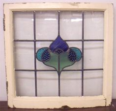 "interesting use of the bumpy glass!!!! OLD ENGLISH LEADED STAINED GLASS WINDOW Very Unusual Curved Frame 23"" x 22.75"""