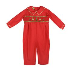 Le Za Me Red Christmas Tree Smocked Romper (3-9)