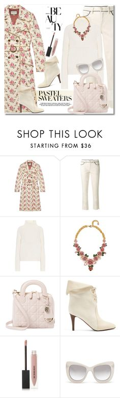 """""""Get the look Pastel Sweaters"""" by vkmd on Polyvore featuring Gucci, Tory Burch, Burberry, Dolce&Gabbana, Christian Dior, Chloé, Le Specs Luxe and pastelsweaters"""