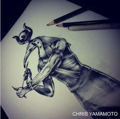 thoth sketch tattoo by #chrisyamamoto