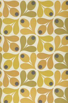 Multi Acorn Spot by Orla Kiely - Orange / Yellow / Green - Wallpaper : Wallpaper Direct Loki Wallpaper, Spotted Wallpaper, Harlequin Wallpaper, Feature Wallpaper, Green Wallpaper, Retro Wallpaper, Pattern Wallpaper, Vintage Wallpaper Patterns, Diamond Wallpaper