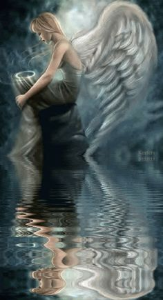 Angel with bowl of prayers. Angels Among Us, Angels And Demons, Sad Angel, Angel Drawing, Amazing Gifs, I Believe In Angels, Ange Demon, Angel And Devil, Gothic Angel