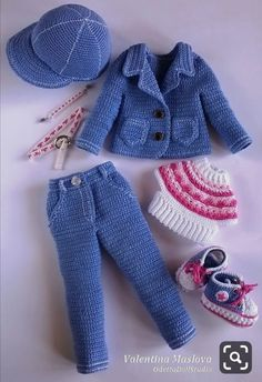 Set 7 pieces of clothes crocheted for doll 13 inch / 33 cm Crochet Doll Dress, Crochet Doll Clothes, Crochet Doll Pattern, Knitted Dolls, Baby Knitting, Crochet Baby, Barbie Patterns, Crochet Designs, Barbie Clothes