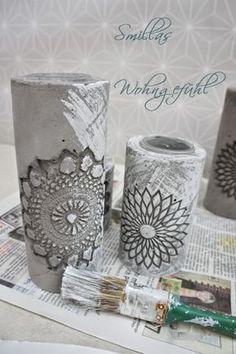 Kerzenständer aus Zement  - mit Omas Tischdeckchen als Muster   SUPER ANLEITUNGSmillas Wohngefühl: DIY: concrete candle holder /