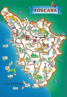 Tourist Map of Toscana (Tuscany) Italy Vacation, Italy Travel, Italy Trip, Pisa, Tuscany Map, Places To Travel, Places To Go, Under The Tuscan Sun, Tourist Map