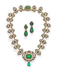An antique green paste and polychrome enamel necklace and earclips, circa 1880
