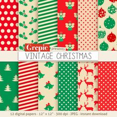 Christmas digital paper VINTAGE CHRISTMAS with vintage backgrounds and patterns by Grepic http://www.etsy.com/shop/grepic