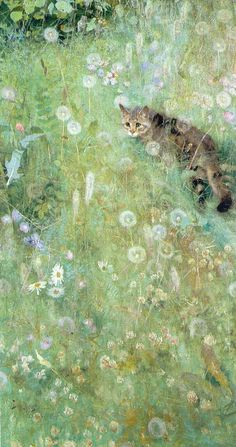 Cat in the Summer Meadow by Bruno Andreas Liljefors (1860-1939, Swedish)