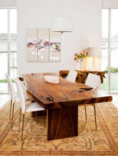 9 Awesome Useful Tips: Rustic Dining Furniture Room Ideas dining furniture design colour.Dining Furniture Makeover How To Paint dining furniture makeover restoration hardware. Live Edge Furniture, Outdoor Dining Furniture, Home Furniture, Furniture Ideas, Wooden Furniture, Handmade Furniture, Furniture Design, Wood Slab Table, Timber Table