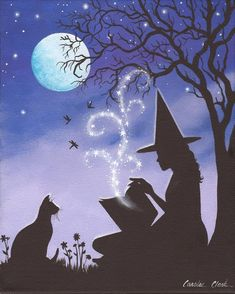 Items similar to A Familiar Tale, 8 x 10 Print of Original Acrylic Witch Painting by Carolee Clark on Etsy Halloween Canvas, Halloween Rocks, Theme Halloween, Halloween Painting, Halloween Pictures, Fall Halloween, Halloween Crafts, Halloween Artwork, Halloween Makeup