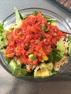 I love pico de gaillo dumped on a salad.