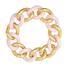 Betteridge Collection Carved Pink Ceramic & 18k Gold Curb-Link Bracelet