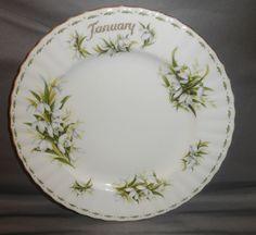 Royal Albert England bone china dessert plate Flower of the Month January 1970 #RoyalAlbert