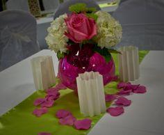 Hot pink & lime green wedding centerpiece