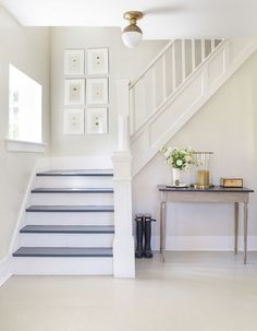 Love this white stairway - Top 25 Benjamin Moore and Sherwin Williams White Paint Colors Home, White Paint Colors, Painted Stairs, Foyer Decorating, White Stairs, Interior, New Homes, White Rooms, Hallway Decorating